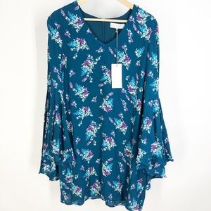 WAYF floral blue bell sleeve dress